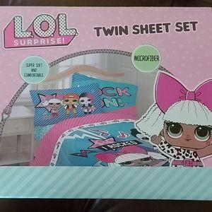 3 Piece L.O.L Twin sheet set.  NEW IN BOX